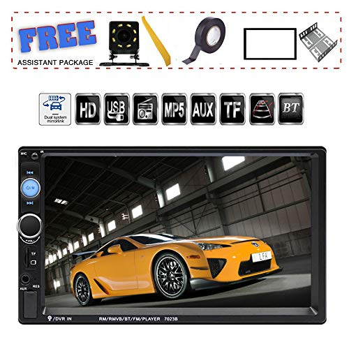 TDYJWELL 7 inch Double Din Touch Screen Car Stereo Upgrade The Latest Version MP5/4/3 Player FM Radio Video  Support Backup Rear-View Camera  Mirror Link (Best 7 Inch Touch Screen Car Stereo)