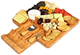Kenley Bamboo Cheese Board and Knife Set - with 4 Knives Slicer Tools in Utensils Drawer & 4 Slate Labels - Large Wooden Cheese and Cracker Platter Cutting Serving Plate Tray - Entertaining Gift Set