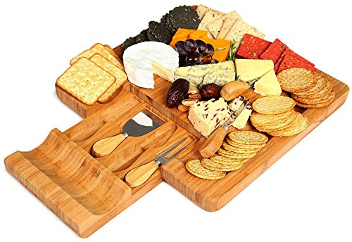 Kenley Bamboo Cheese Board and Knife Set - with 4 Knives Slicer Tools in Utensils Drawer & 4 Slate Labels - Large Wooden Cheese and Cracker Platter Cutting Serving Plate Tray - Entertaining Gift Set - Handled Cake Platter