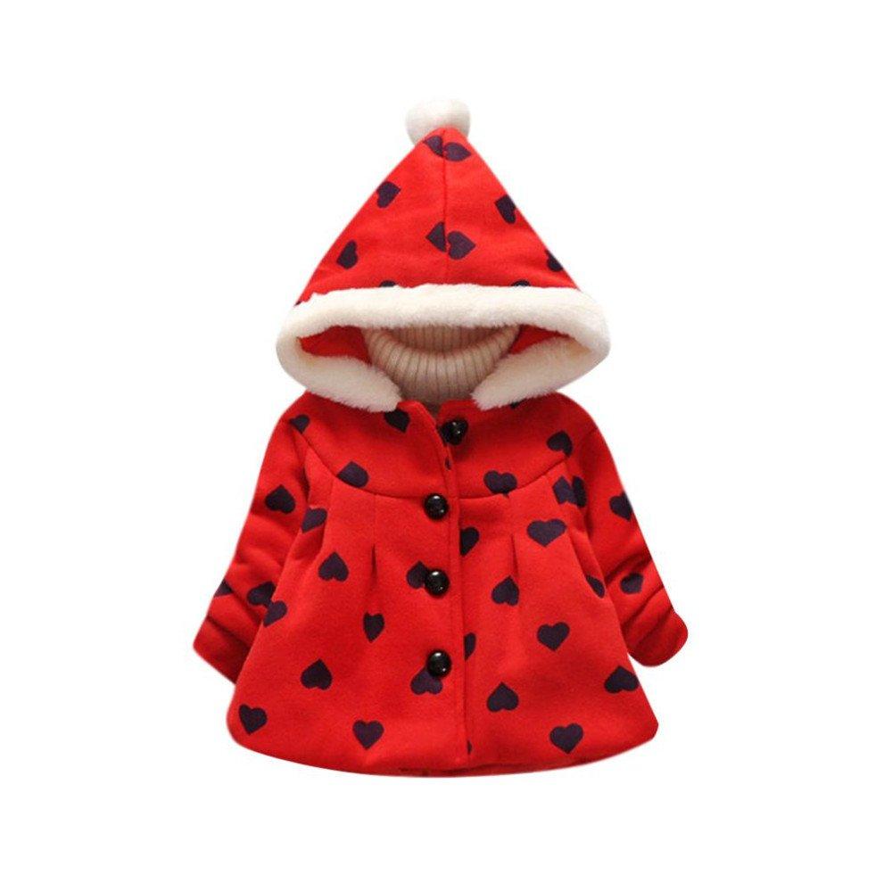 Starmisepro Baby Girls Boys Kids Children Heart Outwear Coat Hoodie Tops Winter Warm Clothes (5, Red)