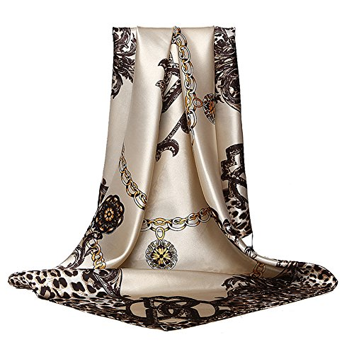 Women's Silk Scarf Fashion Pattern Large Square Satin Headscarf Headdress 35