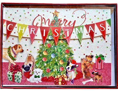 Punch Studio Puppy Party Glitter Embellished 3D Holiday Cards (61986), Box of - Maltese Cards Christmas