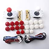 Easyget Arcade DIY Kits For PC Games MAME : 2 x Zero Delay USB Encoders +16 x Fight Push Buttons + 2 x Start Button + 2 x Exit Button + Joystick - Red + White Sets