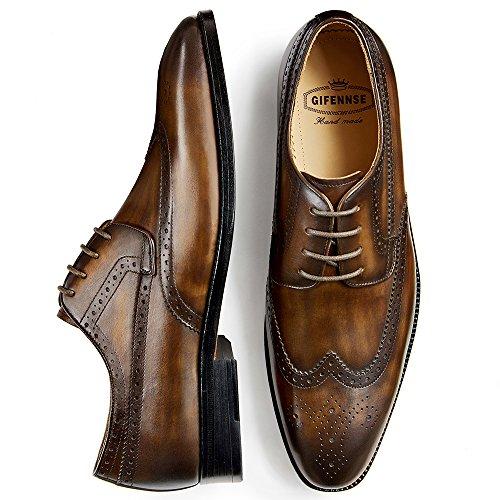 Gifennse Heren Handgemaakte Lederen Zool Moderne Klassieke Veter Lederen Gevoerde Geperforeerde Jurk Oxford Schoenen Bruin-1