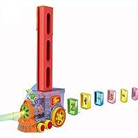 Kids educational puzzle toys electric train 80 pcs domino block set domino train block toy