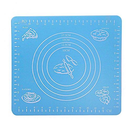 Anself Silikon Backmatte für Fondant und Teig zur Auflage auf die Arbeitsfläche blau
