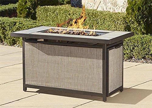 Cosco Outdoor Serene Ridge Aluminum Propane Gas Fire Pit Table with Lid, Rectangular, Dark Brown