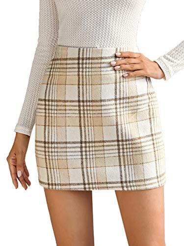 MakeMeChic Women's Plaid Skirt Zipper Back High Waist A-Line Mini Skirt Beige Khaki S
