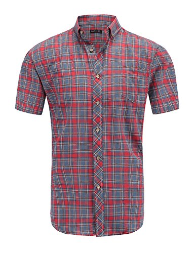 JEETOO Men's Short Sleeve Cotton Plaid Casual Slim Fit Button Down Gingham Slub Dress Shirts (Wine, Medium)