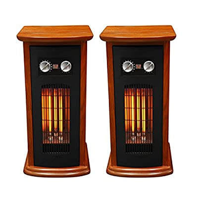 2) LifeSmart LifePro 1500 Watt 1500 SqFt Room Infrared Tower Space Heaters + Fan