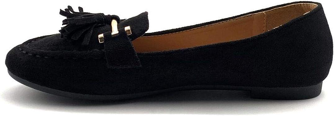 Chaussure Mode Mocassin BCBG Slippers /él/égant Femme Pom-Pom /à Gland cha/îne dor/ée Talon Plat 1 CM Angkorly
