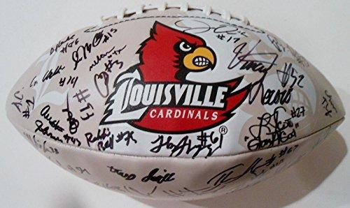 2016 Louisville Cardinals Team Signed Logo Football W/COA C - Autographed College Footballs