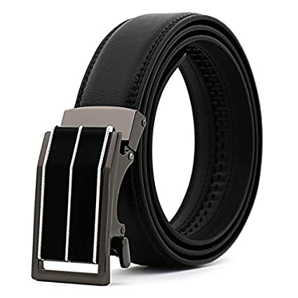 Mens Leather Ratchet Dress Belts with Automatic Buckle