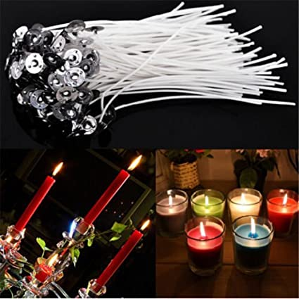 10CM Length HMILYDYK No Smoke Candle Wicks 100PCS Prewaxed Candle Wicks for DIY Candle Making Wicks