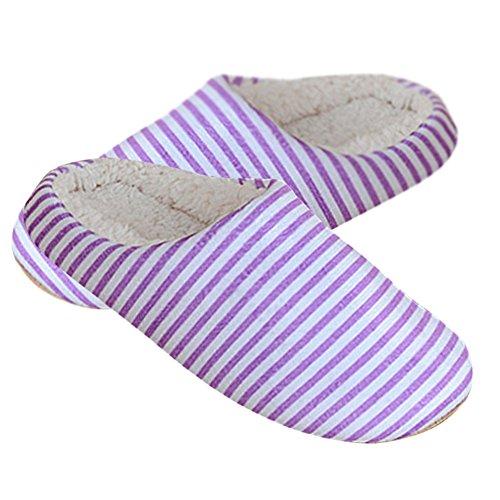Pantofole Rosa Viola Caldo Comfort Rigato A Righe