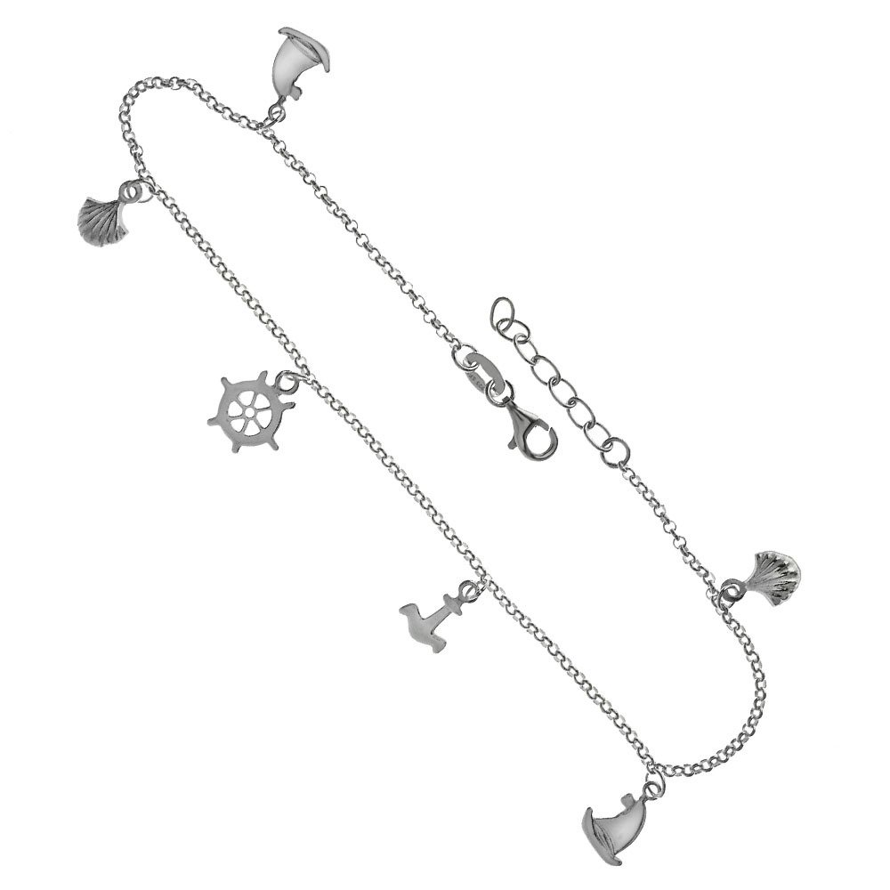 CloseoutWarehouse Sterling Silver Shell Sail Boat Anker Ship'S Helm Charms Adjustable Anklet