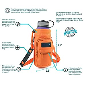 Inertia Gear Water Bottle Holder for Hydro Flask 40oz Carrier w/ Pockets worn as a Sling or Backpack for (Bottle Not Included) - Orange