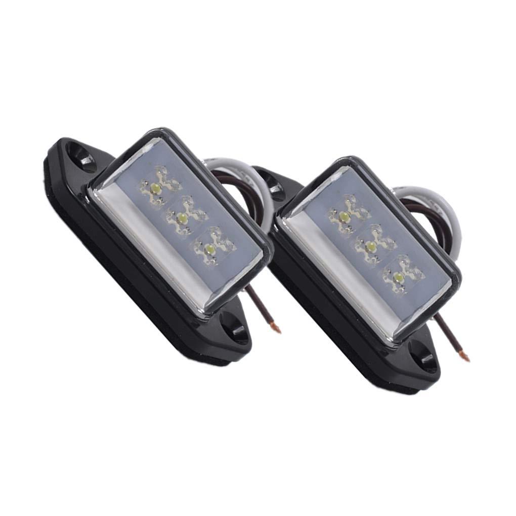 24V /éclairage Automatique /étanche Topker 1 Paire 3LED Licence arri/ère Plaque dimmatriculation Lampe Camion remorque Bateau Caravane 12V