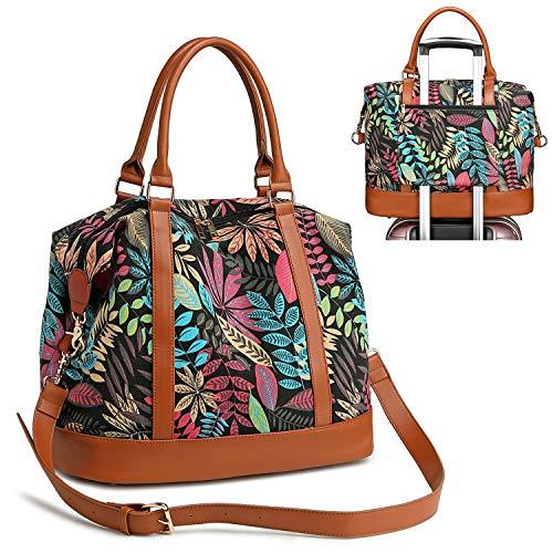 Womens Travel Weekender Overnight Bag Carry-on Duffel Shoulder Tote Bags in Trolley Handle (Floral leaf - black)