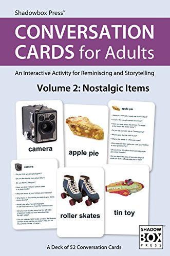Conversation Cards for Adults, Nostalgic Items - Reminiscence Activity for Alzheimer's / Dementia / Memory Loss Patients and Caregivers - 52 Cards