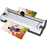 Ejoyous 3 in 1 Laminator with Paper Trimmer & Corner Rounder,Hot and Cold 2 rollers with 250mm/min Quick Warm-up Laminating Speed,230mm A4 Max Width for Document/Photo/ID Card + 5 Laminating Pouches