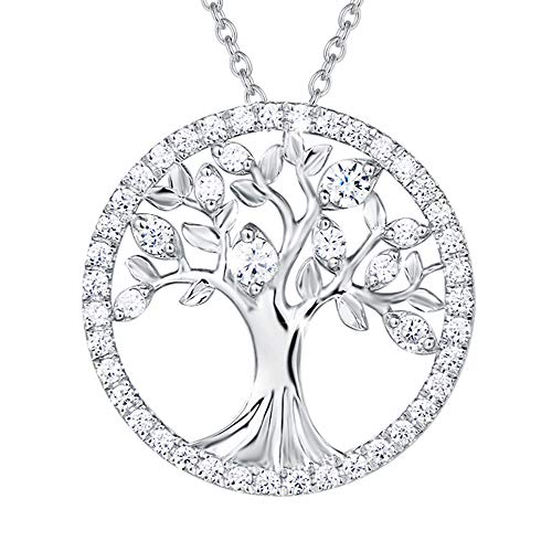AGVANA Sterling Silver Tree of Life Pendant Necklace Halo Cubic Zirconia CZ Fine Jewelry Gifts for Women Girls with Gorgeous Jewelry Box, 16