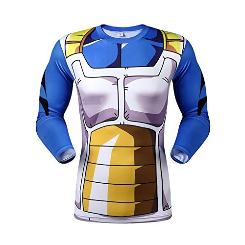 Anime Dragon Ball Z Vegeta Slim Shirt Long Sleeve Cosplay Shirt Adult