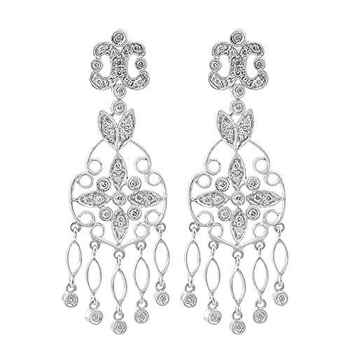 Antique Style Diamond Dangle Earrings 14K White Gold ()