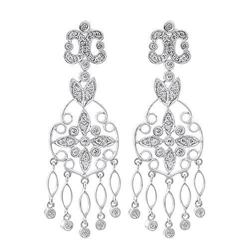 Diamond Antique Earring - Antique Style Diamond Dangle Earrings 14K White Gold