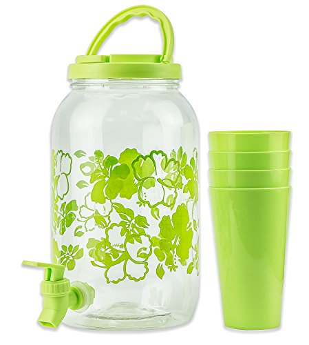 DecorRack Plastic Beverage Dispenser with Spigot and 4 Cups, Spout Jar for Juice, Water, Cold Drinks, Portable 1 Gallon Container with Flip Cap for Parties, Picnic -BPA Free- Green (1 (Portable Beverage)