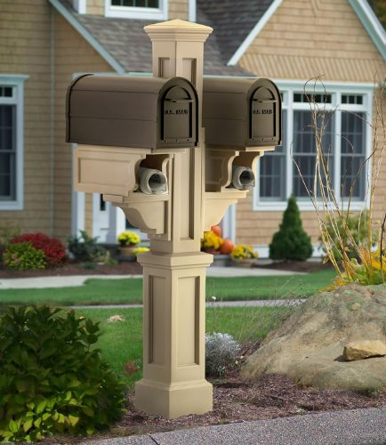 Mayne Rockport Plastic Double Mailbox - Mailbox Treated Post