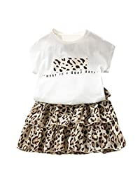 Toddler Kid Baby Girls Outfits Clothes Letter T-Shirt Top+Leopard Cake Skirt Set