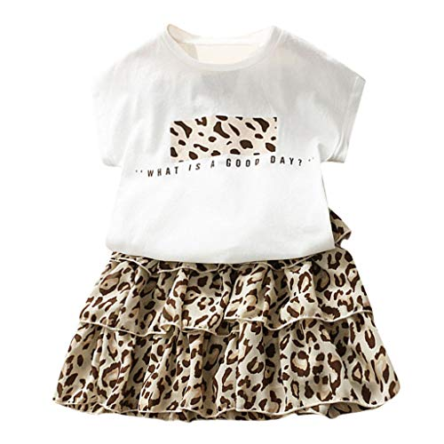 Toddler Kids Girls Shirts Skirts 2pcs Sets Child Leopard Letter Print Tiered Skirts Cute Short Sleeve Blouse Outfits 2-7Y Swiusd (White, 4-5 - Leopard Tiered