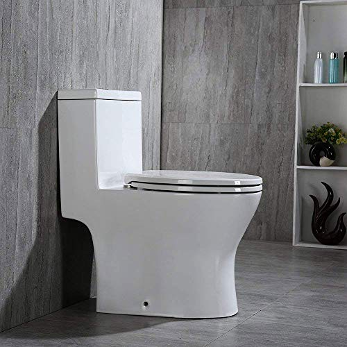 Woodbridge B0750-2/T-0032L Modern Design, One Piece Dual Flush 1.0/1.6 Gpf,with Soft Closing Seat, White, Elongated Toilet, T-0032/B0750