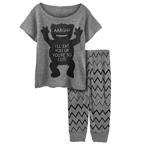 Big Elephant 2 Pieces Baby Boys Short Sleeve Cute Tshirt Leggings Set D65 (3-6 Months, Gray)