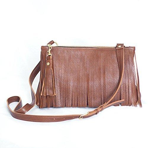 Fringe Purse - Leather Crossbody Bag - Tan Fringed Handbag - Brown Leather Fringe Bag by Beaudin
