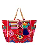 Star Mela Women's Vita Women's Red Tote Beach Bag 100% Cotton
