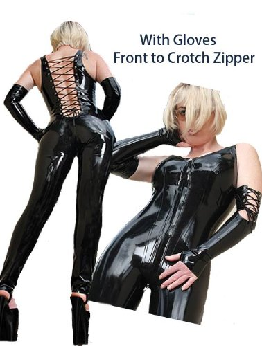 Sexy Front to Crotch Zipper Bodysuit with Gloves - Small/Medium
