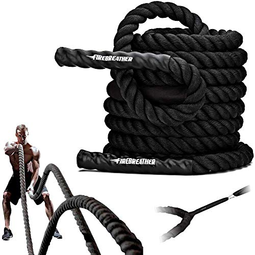 FireBreather Training Poly Dacron Battling Rope with Protective Sleeve and Handles, 50 Feet - 1.5 Inch-Thick