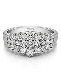 14k White Gold Lady Ring Charles Colvard Created Moissanite(0.43Ct)Size 3 To 15 in 1/4 Size Intervals