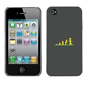 For Apple iPhone 4 / iPhone 4S / 4S Case , Evolution Stairs Children'S Poster - Diseño Patrón Teléfono Caso Cubierta Case Bumper Duro Protección Case Cover Funda