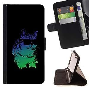 BullDog Case - FOR/Samsung Galaxy S3 Mini I8190Samsung Galaxy S3 Mini I8190 / - / cat sunglasses psychedelic neon art drawing /- Monedero de cuero de la PU Llevar cubierta de la caja con el ID Credit Card Slots Flip funda de cuer