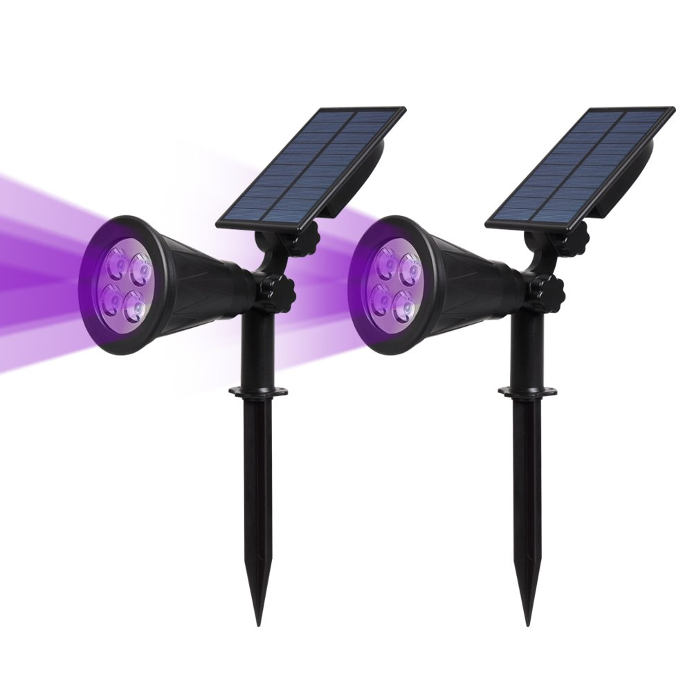 T-SUN [2 Pack] LED Solar Spotlights, Waterproof Outdoor Security Landscape Lamps, Auto-on/Auto-Off by Day, 180 Angle Adjustable for Tree, Patio, Yard, Garden, Driveway, Stairs, Pool Area(Purple) by T-SUN