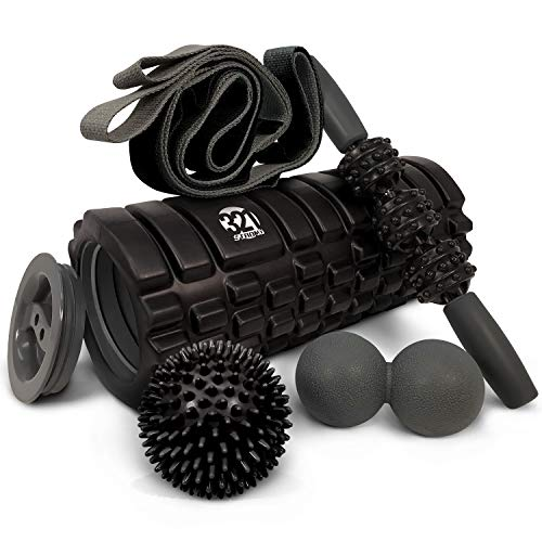 321 STRONG 5 in 1 Foam Roller Set Includes Hollow Core Massage Roller with End...
