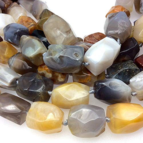 12-16mm x 18-23mm Faceted Natural Botswana Agate Nugget Shaped Beads with 1mm Holes - Sold by 16
