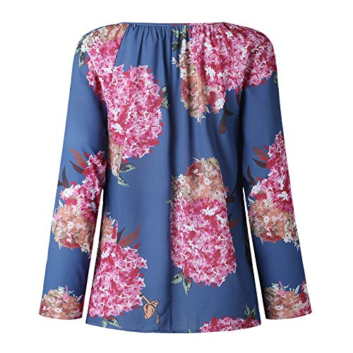 Blouson Florale Longues Chemisier Shirt Pull Femme Bleu Col Sweat Bringbring Imprim Manches V wROBzqg