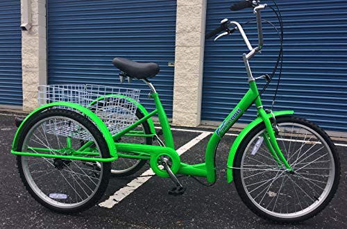 24″ Low Step Easy Step Over Single Speed Adult Tricycle Green Big Comfortable SEAT Large Basket