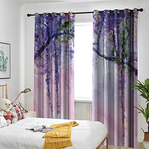 TRTK Bedroom Curtains 2 Panel Sets Drape Watercolor Flower,Wisteria Flowers on Blurred Background with Dreamy Colors,Purple Pale Pink Green