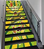 Stair Stickers Wall Stickers,13 PCS Self-adhesive,Fiesta,Sprites with Sombrero Maracas Mustache Mexican Hand Drawn Illustration,Green Yellow Vermilion,Stair Riser Decal for Living Room, Hall, Kids Roo