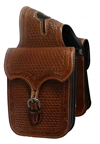 (Showman MEDIUM OIL Barbwire/Basket Weave Tooled Leather Western Horn Bag)